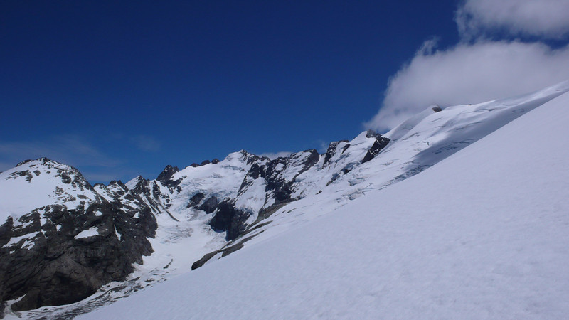 Margaret Glacier from Abruzzi Glacier - from left, Hedin Peak, Betty Peak, Albert Peak, Stefansson Peak